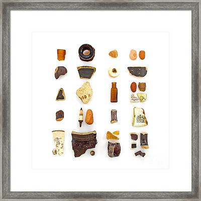 Brown China And Amber Sea Glass Framed Print by Jennifer Booher