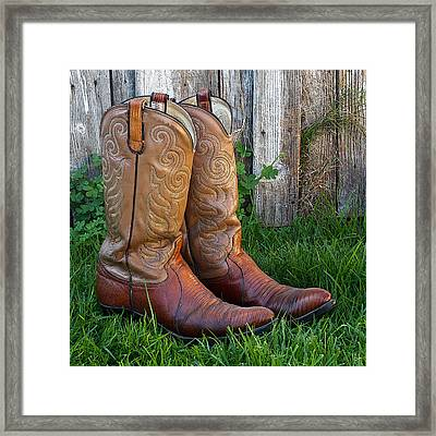 Brown Cowboy Boots Framed Print by Art Block Collections