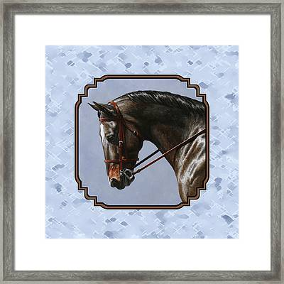 Brown Dressage Horse Pillow Blue Framed Print by Crista Forest