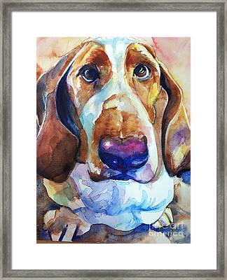 Brown Eyes Framed Print by Maria's Watercolor