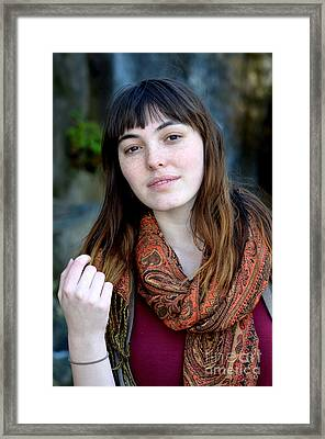 Brown Haired And Freckle Faced Natural Beauty Model Ix Framed Print by Jim Fitzpatrick
