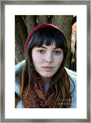 Brown Haired And Freckle Faced Natural Beauty Model V Framed Print by Jim Fitzpatrick