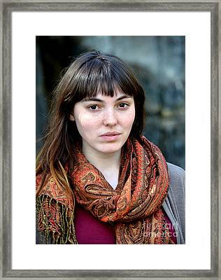 Brown Haired And Freckle Faced Natural Beauty Model Viii Framed Print by Jim Fitzpatrick