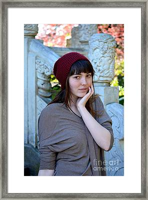 Brown Haired And Freckle Faced Natural Beauty Model X Framed Print by Jim Fitzpatrick