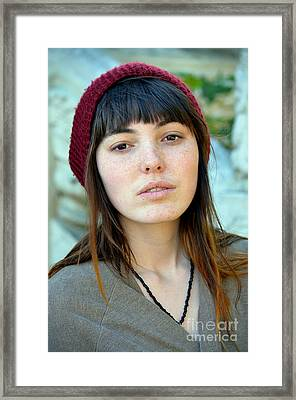Brown Haired And Freckle Faced Natural Beauty Model Xi Framed Print by Jim Fitzpatrick