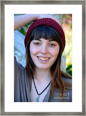 Brown Haired And Freckle Faced Natural Beauty Model II    Framed Print by Jim Fitzpatrick