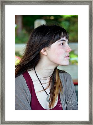 Brown Haired And Freckle Faced Natural Beauty Model Xvi Framed Print by Jim Fitzpatrick