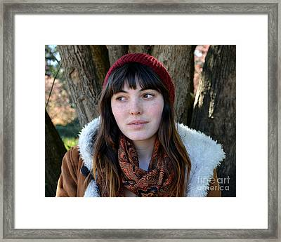 Brown Haired And Freckle Faced Natural Beauty Model  Xvii  Framed Print by Jim Fitzpatrick