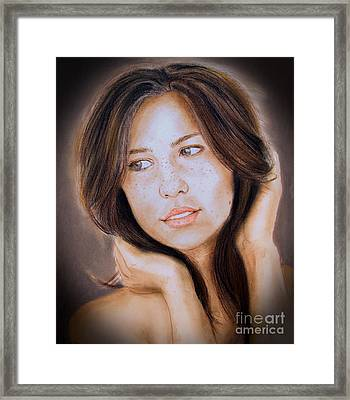 Brown Haired And Lightly Freckled Beauty Fade To Black Version Framed Print by Jim Fitzpatrick