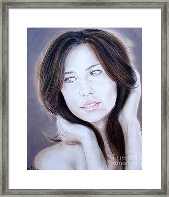 Brown Haired And Lightly Freckled Beauty Framed Print by Jim Fitzpatrick