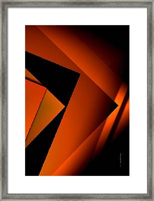 Brown Over Black In Abstract Art Framed Print by Mario Perez
