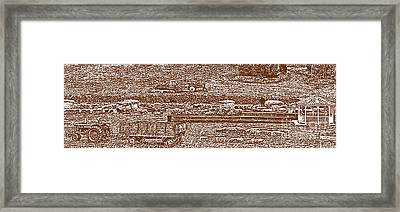 Brown Tone Harvest Scene Sketch Style Panorama Framed Print by Minding My  Visions by Adri and Ray