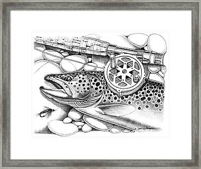 Brown Trout And Antique Reel Framed Print by Jon Q Wright