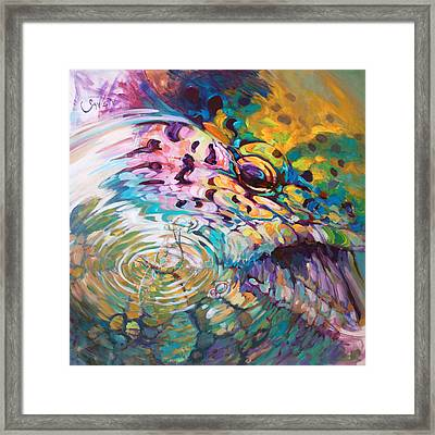 Brown Trout And Mayfly - Abstract Fly Fishing Art  Framed Print by Savlen Art