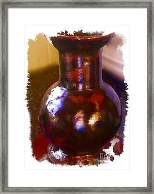 Brown Vase Design Framed Print by Joan-Violet Stretch