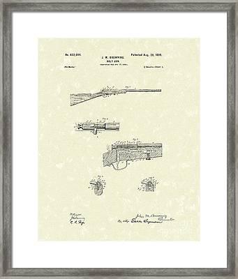 Browning Bolt Gun 1899 Patent Art Framed Print by Prior Art Design