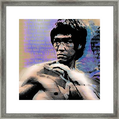 Bruce Lee And Quotes Square Framed Print by Tony Rubino