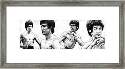 Bruce Lee Art Drawing Sketch Poster Framed Print by Kim Wang