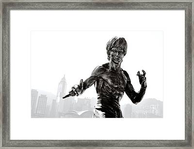Bruce Lee Statue On The Avenue Of Stars With Hong Kong Skyline Framed Print by David Lyons