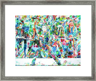 Bruce Springsteen And The E Street Band - Watercolor Portrait Framed Print by Fabrizio Cassetta