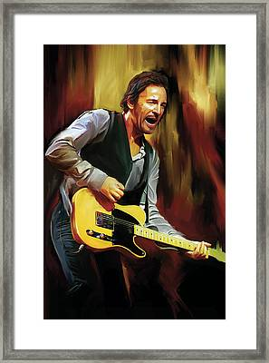 Bruce Springsteen Artwork Framed Print by Sheraz A