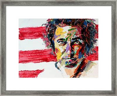 Bruce Springsteen Framed Print by Derek Russell