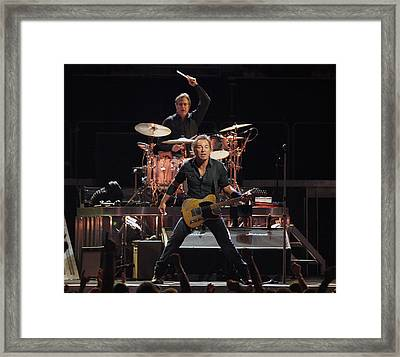 Bruce Springsteen In Concert Framed Print by Georgia Fowler