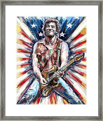 Bruce Springsteen Painting Framed Print by Ryan Rock Artist