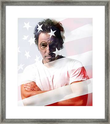Bruce Springsteen Portrait Framed Print by Marvin Blaine