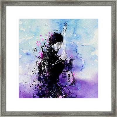 Bruce Springsteen Splats And Guitar 2 Framed Print by MB Art factory