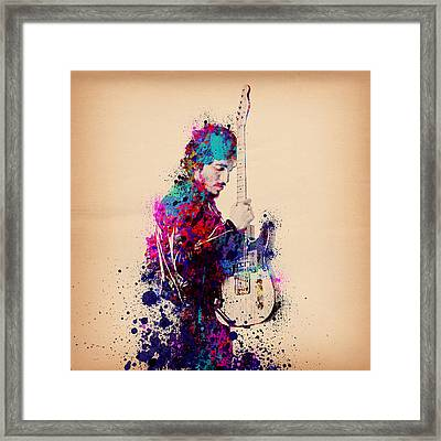 Bruce Springsteen Splats And Guitar Framed Print by Bekim Art
