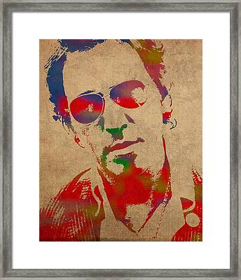 Bruce Springsteen Watercolor Portrait On Worn Distressed Canvas Framed Print by Design Turnpike
