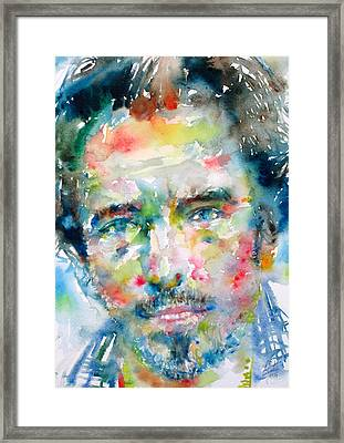 Bruce Springsteen Watercolor Portrait.1 Framed Print by Fabrizio Cassetta