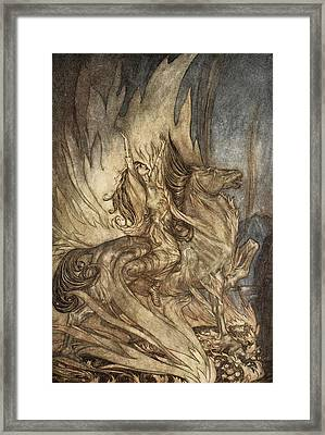 Brunnhilde On Grane Leaps Framed Print by Arthur Rackham