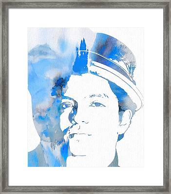 Bruno Mars Blue Watercolor Framed Print by Dan Sproul