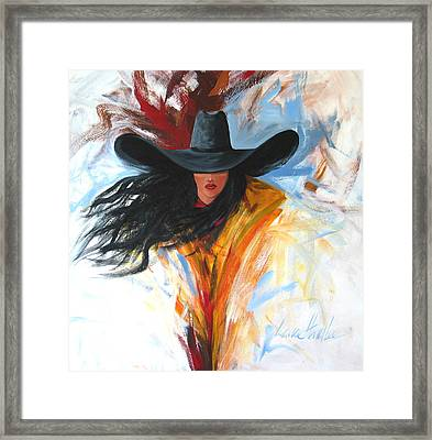 Brushstroke Cowgirl Framed Print by Lance Headlee