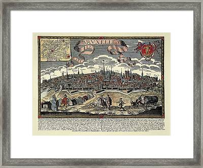 Brussels In 17th C. Engraving. � Framed Print by Everett