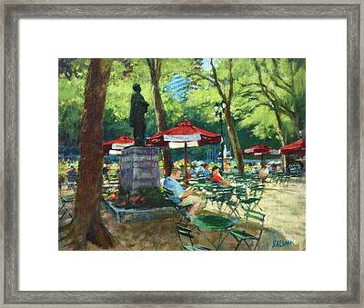 Bryant Park - The Reading Room Framed Print by Peter Salwen