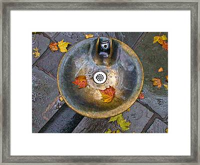 Bryant Park Fountain In Autumn Framed Print by Gary Slawsky
