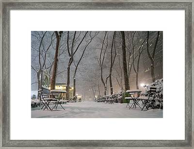 Bryant Park - Winter Snow Wonderland - Framed Print by Vivienne Gucwa