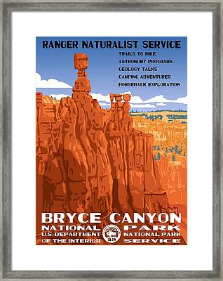 Bryce Canyon National Park Vintage Poster 2 Framed Print by Eric Glaser