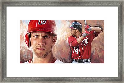Bryce Harper Artwork Framed Print by Sheraz A