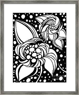 Bubble Flowers Framed Print by Sarah Loft