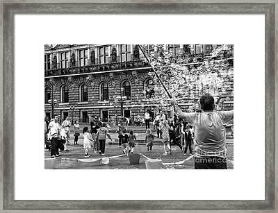 Bubble Master Mono Framed Print by John Rizzuto