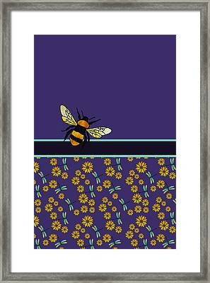 Blue Grapes Framed Print featuring the mixed media Bubblebee And Friends by Jenny Armitage