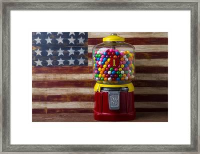 Bubblegum Machine And American Flag Framed Print by Garry Gay