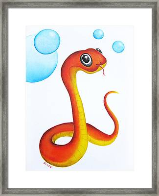 Bubbly Baby Snake Framed Print by Oiyee At Oystudio