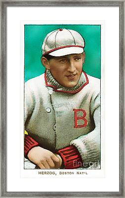 Buck Herzog Boston Braves Baseball Card 0500 Framed Print by Wingsdomain Art and Photography