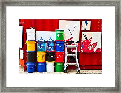 Buckets Of Color Framed Print by Karol Livote