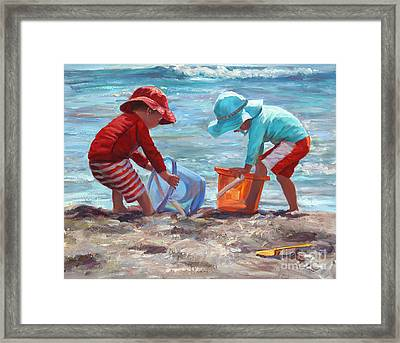 Buckets Of Fun Framed Print by Laurie Hein